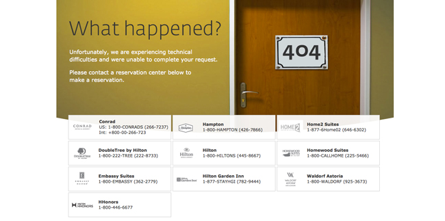 Hilton Hotels 404 error page