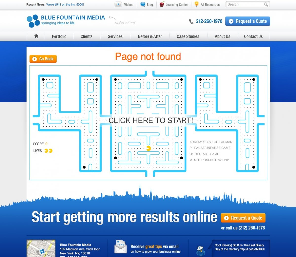 Blue Fontain Media 404 error page