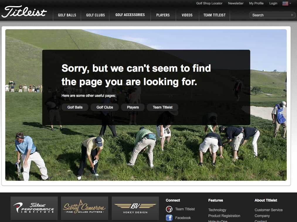Titleist 404 error page